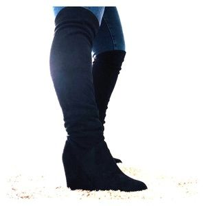 Over the knee black suede wedge boots